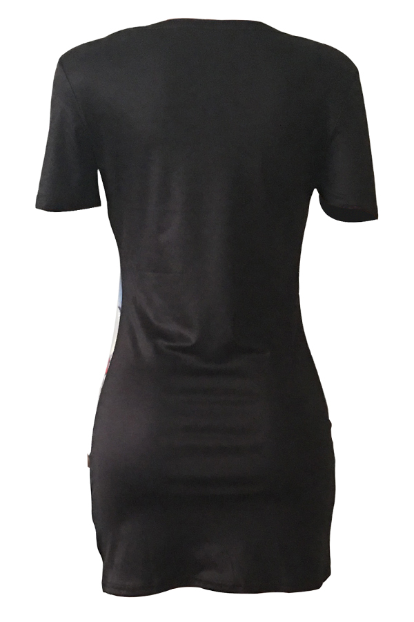 LovelyCasual Round Neck Patchwork Cartoon Printed Black Twilled Satin Mini Dress