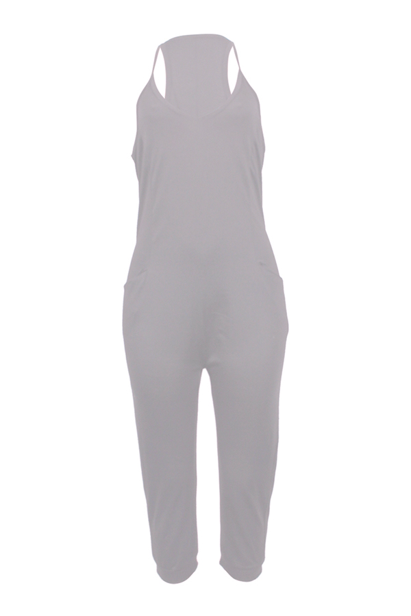 LovelyFashion V Neck Pocket Design Grey One-piece Jumpsuits