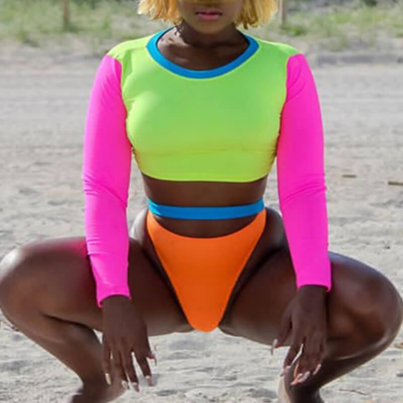 Lovely Euramerican Patchwork Multicolor Two-piece Swimwear