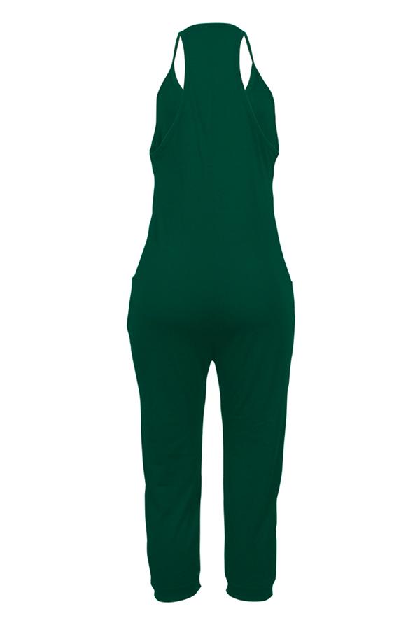 LovelyEuramerican Dew Shoulder Green One-piece Jumpsuits