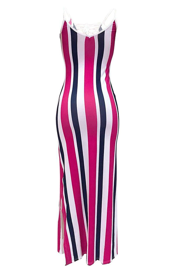 LovelySexy Hollow-out Striped Red Knee Length Dress