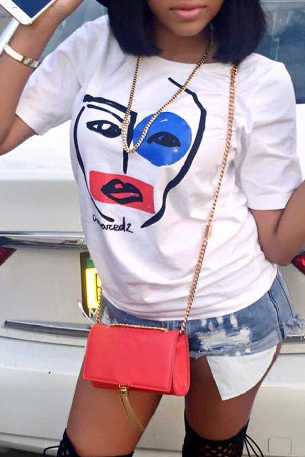 Preciosa Camiseta Blanca Estampada Euramerican