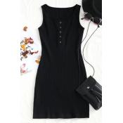 Lovely Casual U Neck Buttons Black Knitting Sheath