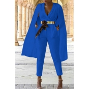 Lovely Work V Neck Cape Design Blue Twilled Satin