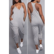 Lovely Euramerican Dew Shoulder Grey One-piece Jumpsuit