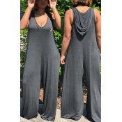 LovelyCasual Hooded Collar Grey One-piece Jumpsuits