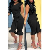 LovelyPretty Round Neck Flounces Black One-piece Romper