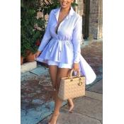 Lovely Trendy Long Sleeves Asymmetrical Light Blue