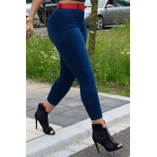 LovelyFashion High Waist Deep Blue Denim Zipped Je