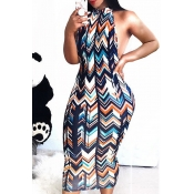 LovelyParty Round Neck Striped Qmilch Mid Calf Dress