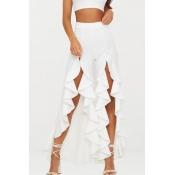 Lovely Trendy High Waist Asymmetrical White Pants