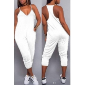 Lovely Euramerican Dew Shoulder White One-piece Jumpsuit