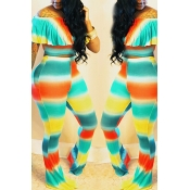 LovelyCasual Gradient Ramp Printed Two-piece Pants Set
