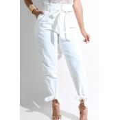 LovelyFashion High Waist White Polyester Pants