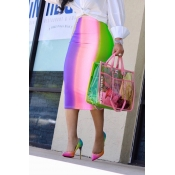 Lovely Sexy Rainbow Printed Pink Mid Calf Skirts