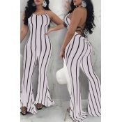 LovelySexy Striped Backless White Polyester One-piece Jumpsuit