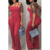 LovelyFashion Dots Printed Red One-piece Jumpsuits