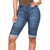 Lovely Trendy High Waist Dark Blue Denim Shorts