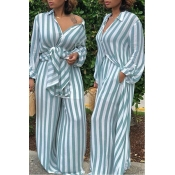 LovelyEuramerican Striped Blue  Loose  Two-piece Pants Set