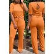 Lovely Euramerican Lace-up Orange One-piece Jumpsu