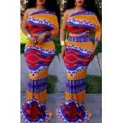Lovely Bohemian Show A Shoulder Printing Orange  Floor Length Dress