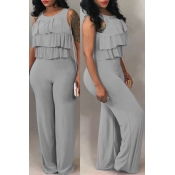 Lovely Trendy Falbala Design Grey One-piece Jumpsuits