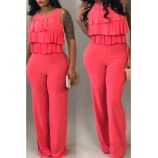 Lovely Trendy Falbala Design Red One-piece Jumpsuits