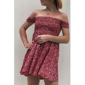 Lovely Euramerican Dew Shoulder Wine Red Cotton Mi