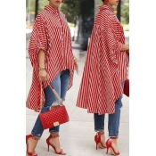 Lovely Casual Asymmetrical Striped Red Blouse