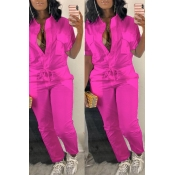 LovelyTrendy  Button Design Rose Red One-piece Jumpsuit