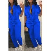 LovelyTrendy  Button Design  Blue One-piece Jumpsuit