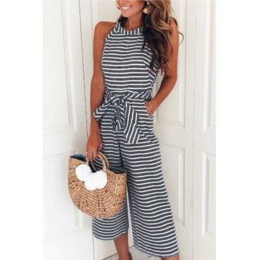 Lovely Bohemian Round Neck Striped Black Cotton Blends One-piece Jumpsuits