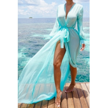 Lovely Blue Chiffon Solid Cover-Ups