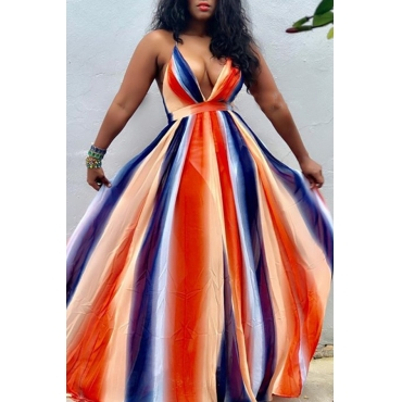 Lovely Bohemian Deep V Neck Backless Orange Chiffon Floor Length Dress