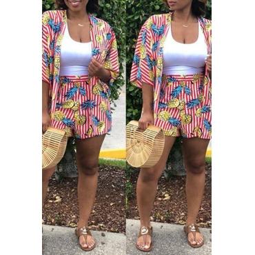 Lovely Fashion Pineapple Printing Knitting Two-piece Shorts Set