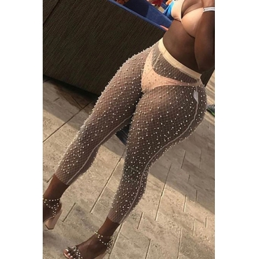 Lovely Sexy High Waist See-Through Pearl Apricot Mesh Pants(Without Subcoating)