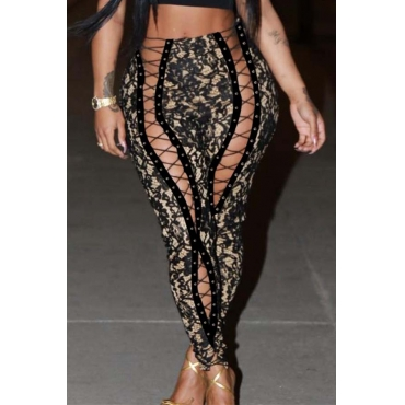 Lovely Trendy High Waist Lace-up Printing Black Pants