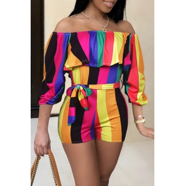 LovelyTrendy Bateau Neck Colorful Striped Qmilch One-piece Short Jumpsuits