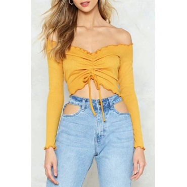 Lovely Sweet Bateau Neck Drawstring Yellow Cotton Blends Shirts