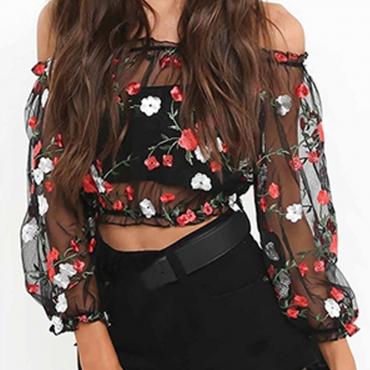 LovelySweet Bateau Neck Embroidered Floral Black Shirts