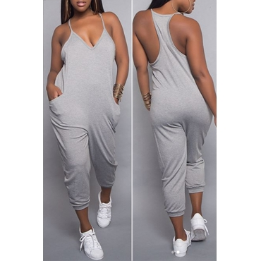 LovelyEuramerican Dew Shoulder Grey One-piece Jumpsuits