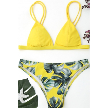 Lovely Chic Leaf Printed Yellow Two-piece Swimwears