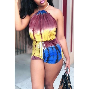Lovely Bohemian Halter Neck Printing Yellow Qmilch One-piece Romper
