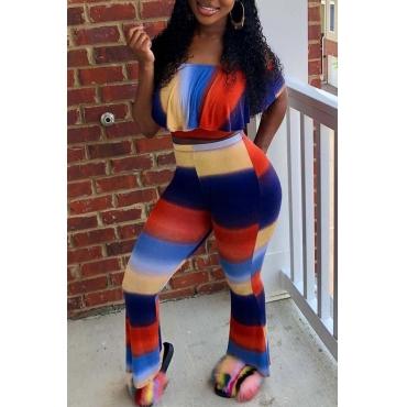 LovelySexy Bateau Neck Colorful Striped Two-piece Pants Set