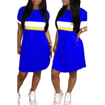 Lovely Fashion Round Neck Patchwork Blue Blending Mini Dress