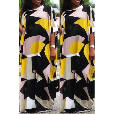 Lovely Bohemian Round Neck Color Block Yellow Cotton Blends Floor Length Dress