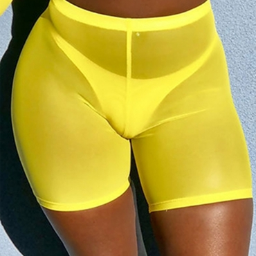 Lovely Chic High Elastic Waist See-Through Yellow Shorts(Without Subcoating)