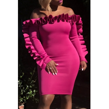 Lovely Polyester Party Off The Shoulder Long Sleeve Bateau Neck Knee Length Sheath Dresses