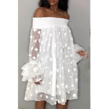 Lovely Trendy  Dew Shoulder Polka Dot Transparency White Mid Calf A Line Dress