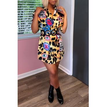 Lovely Trendy Turndown Collar Printed Healthy Fabric Mini Dress
